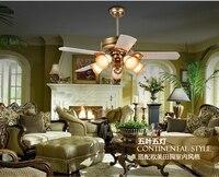 European retro fan light minimalism modern living room bedroom wood blade ceiling fan light LED fan ceiling light 52 48 42
