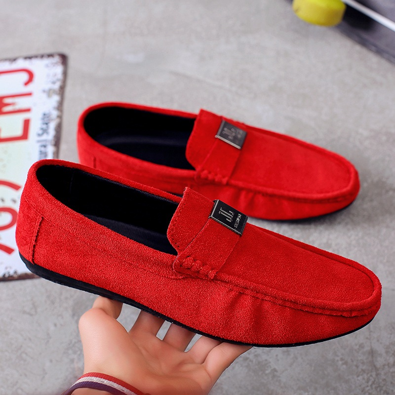 Moccasins Men Spring Slip On Flats Casual Mens Loafers   Suede   Breathable Red Shoes Summer Comfortable Men Soft   Leather   Shoes