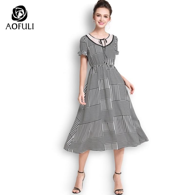 AOFULI Plus Size Black White Stripe Dress Summer Ruffles Short Sleeve Bow  Tie Mid-calf Length Dress L- XXXL 4XL 5XL A3627 7f060b7f5bd9