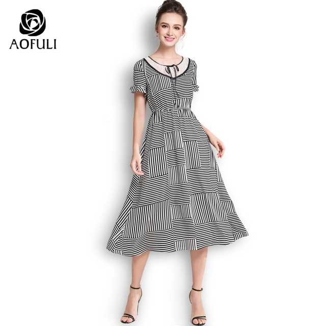 Aofuli Plus Size Black White Stripe Dress Summer Ruffles Short