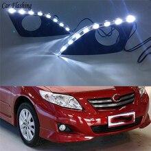 רכב falshing 1 סט רכב LED בשעות היום ריצת אור drl לטויוטה קורולה 2007 2008 2009 2010 LED DRL ערפל מנורת כיסוי נהיגה אורות