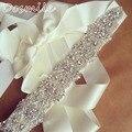 Largo Vintage marfil Diamond Rhinestones apliques cinturón nupcial perlas cristales sash la pretina de la correa accesorios