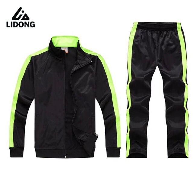 Men Child Sport Running Custom Team Football Set Long Jacket Pants Suit Soccer  Training Skinny Leg Fitness Workout GYM b6dcb1ad1