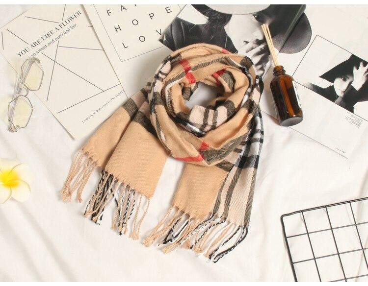 Осенне-зимний детский шарф, британский клетчатый высококачественный теплый мягкий шарф из искусственного кашемира, модный шарф для мальчиков и девочек