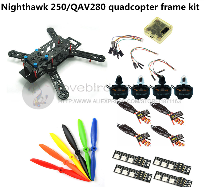DIY FPV race mini drone Nighthawk 250 / QAV280 quadcopter frame kit ...
