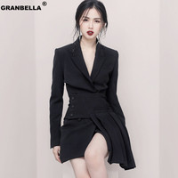 Hot Women's Formal Office Business Work Jacket Skirt Suit Set Vintage Black Mini Pleated Skirt & Blazer Two Pieces Sets