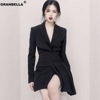 Hot Women's Formal Office Business Work Jacket Skirt Suit Set Vintage Black Mini Pleated Skirt & Blazer Two Pieces Sets
