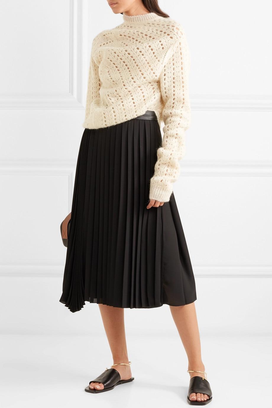 Pull Irrégulière 2018 Hiver Chandail Femme Blanc Streetwear Mode Évider Femmes Whitney Ww Jumper Wang Automne 1961 avFn5q0