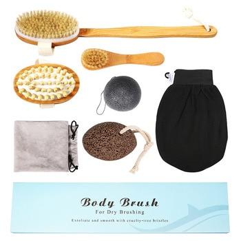 7pcs/lot Wooden Body Massage Brush Rubber Massage Brush for Skin Exfoliating SPA Shower Body Massager Bristle Bathroom Set