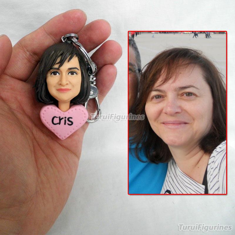 OOAK миниатюрный брелок для ключей с человеческим лицом, брелок для ключей с именем и гравировкой даты, свадебные украшения, вечерние подароч... - 5