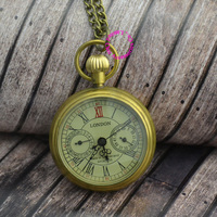 Wholesale London 5 Hand Small Dial Mechanical Pocket Watch Man Gift Dad Good Quality Antique Vintage Classic Brass Hour