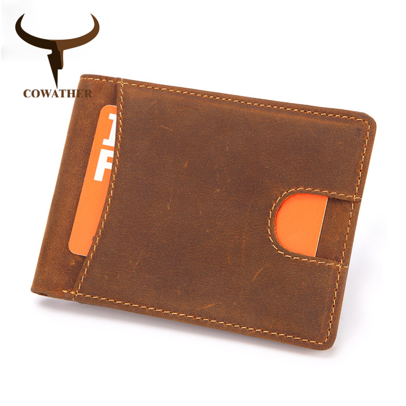 COWATHER Card Holder Men Wallet Cow Genuine Leather Photo Holder Wallet For Men Luxury Short Style Cowhide Male Purse M9116