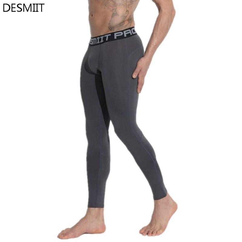 DESMIIT Brand Running Tights Men Sports Leggings Yoga Basketball Fitness Gym Skins