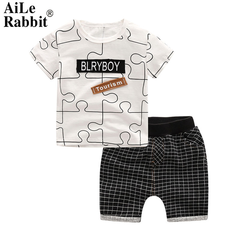 AiLe Rabbit Summer Baby Boy Clothes Kids Short Sleeve t-shirt+shorts 2pcs Set letter pattern boys clothing children clothing set