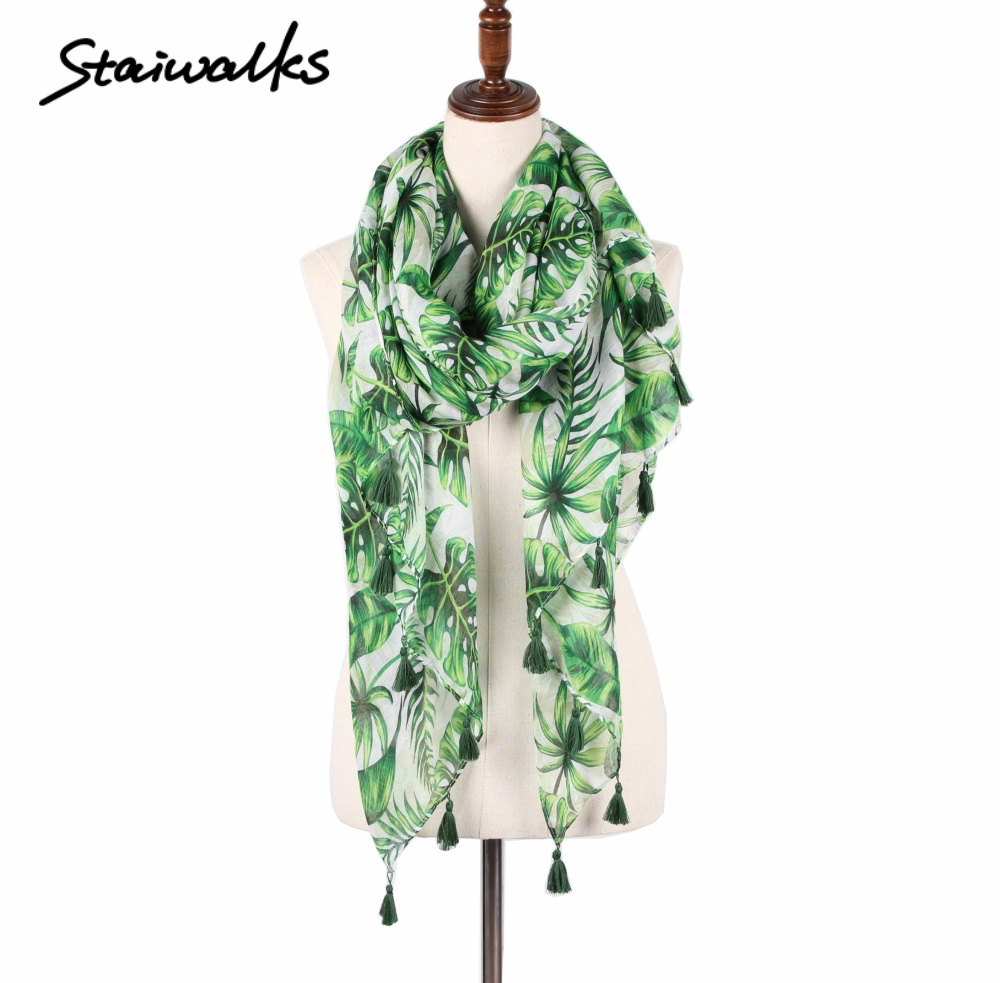 Staiwalks green tropical leaf flower scarf new floral leaves tassel white color summer spring style light weight soft