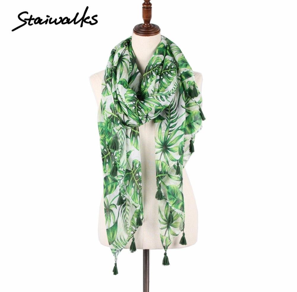 Staiwalks verde hoja tropical flor bufanda nuevas hojas florales ...