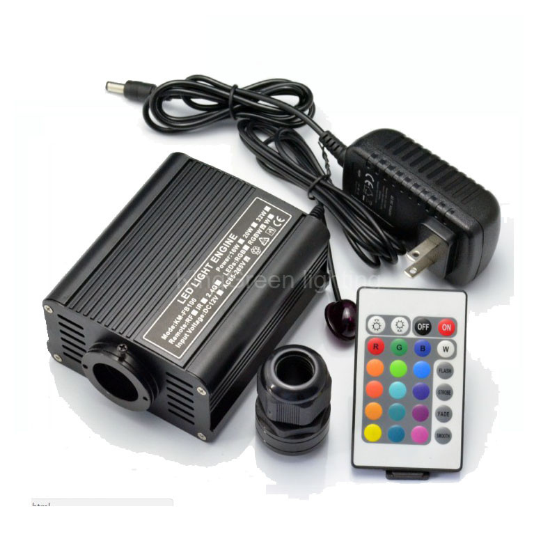 1X High quality DC12V RGBW color LED 16W fiber optic light engine with 24 key RF