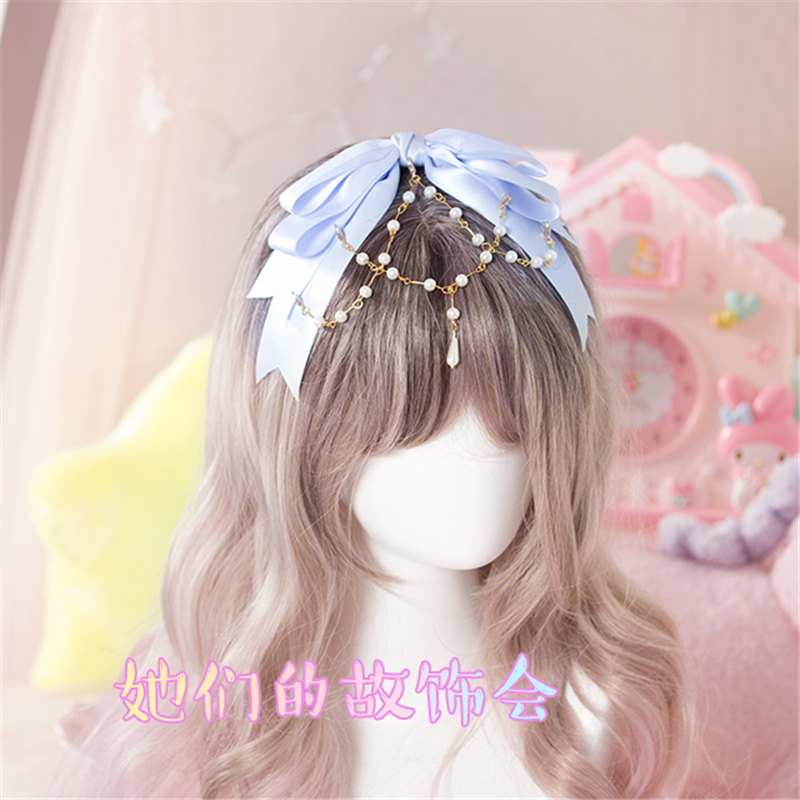 2017 hair accessories LOLITA bow headband bowknot hairdress pearl ribbon hairpiece Cospl ...