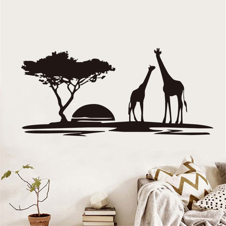 Image 2 - The giraffes in Jungle Sunset Wall Sticker Vinyl Wall Art Large Home Decor Animal Decal for Living Room Bedroom Mural-in Wall Stickers from Home & Garden