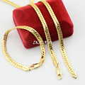 6mm Moda Set Jóias Banhado A Ouro Amarelo Cheio Herringbone Cobra Cadeias Colar Pulseira Conjunto de Jóias