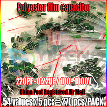 Polyester film capacitor 54values x 5pcs 220PF - 0.22UF Assorted Capacitor Kit 100 - 1000V Total 270pcs Polyester Capacitor Pack