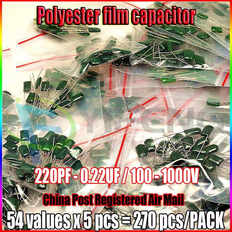 Polyester film <font><b>capacitor</b></font> 54values x 5pcs 220PF - 0.22UF Assorted <font><b>Capacitor</b></font> Kit <font><b>100</b></font> - 1000V Total 270pcs Polyester <font><b>Capacitor</b></font> Pack image