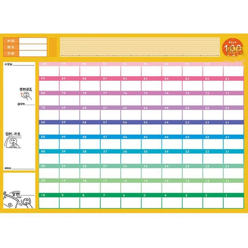 1 Pcs Neue 100 Tag Funy Countdown-kalender Lernen Zeitplan Periodische Planer Tisch Geschenk Für Kid Studie Planung Lernen Liefert