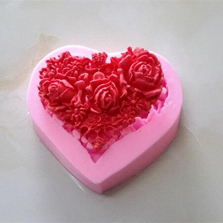 Cake Bake Tool Elegant Heart Shape Rose Design Silicone Mold For