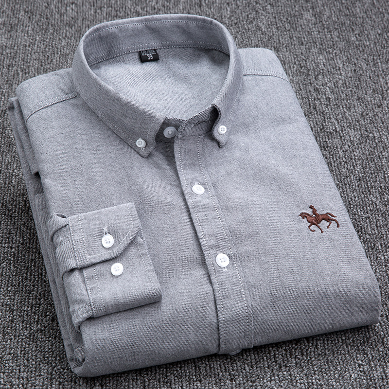 S-6XL Plus size New  OXFORD FABRIC 100% COTTON excellent comfortable slim fit button collar business men casual shirts tops 3