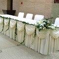 Hohe Qualität 20ft (6 Mt) länge White Ice Silk Solide Tisch Rock mit Swag für Hochzeits dekoration Tisch Sockel Freies DHL-in Tischschürzen aus Heim und Garten bei