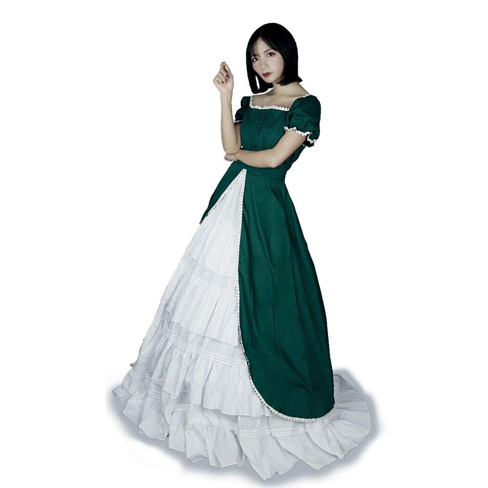 Victorien gothique femmes vert dentelle robe de soirée Cocktail Lolita princesse bulle jupe à manches courtes Maxi robe robe de bal