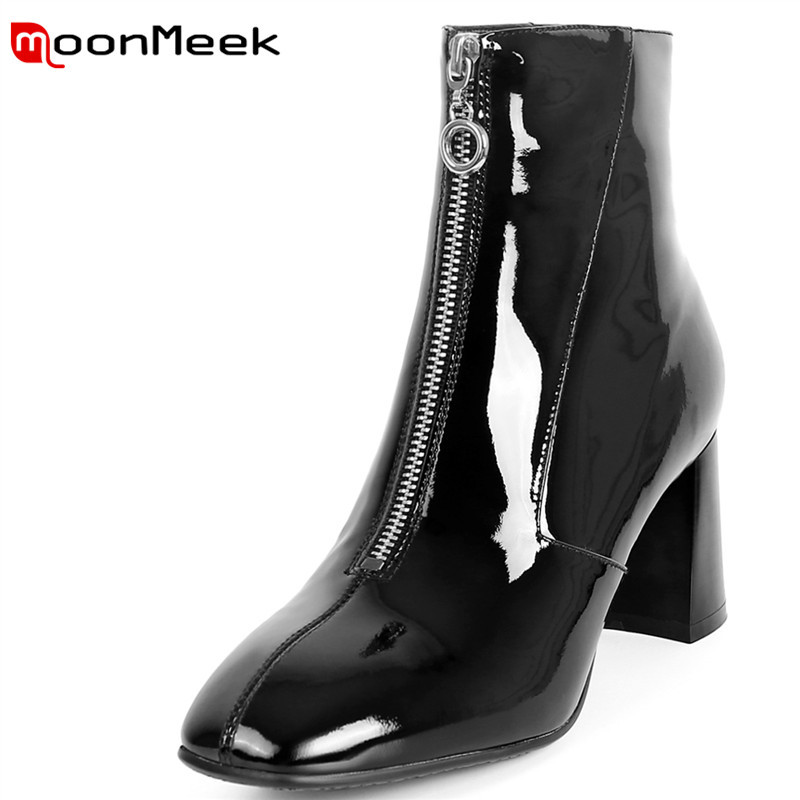 MoonMeek 2018 black fashion women boots new arrive genuine leather ladies boots popular round toe ankle boots high heel shoesMoonMeek 2018 black fashion women boots new arrive genuine leather ladies boots popular round toe ankle boots high heel shoes