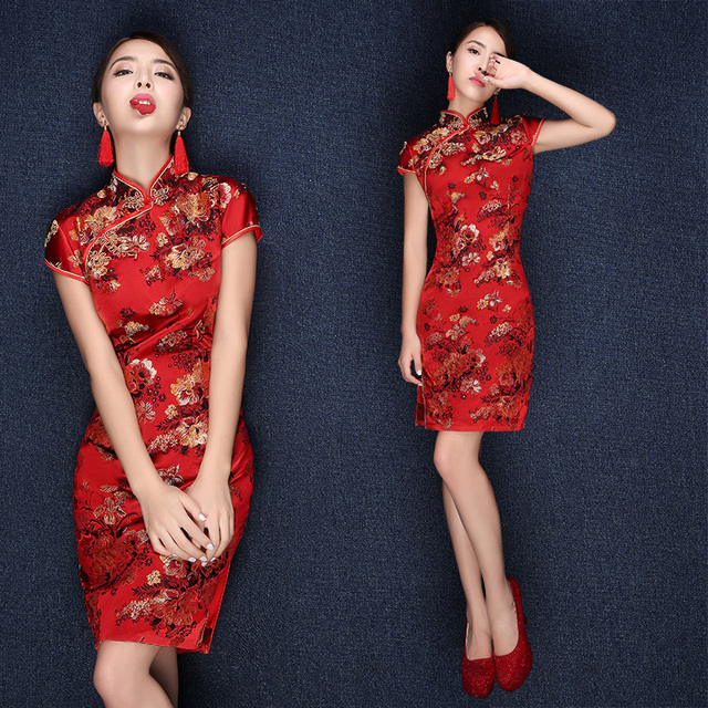 chinese traditional dress wedding 2015 plus size red short modern ...
