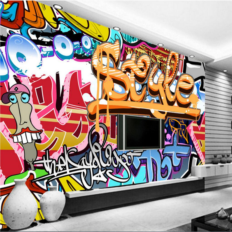 Beibehang Colorful Rock Graffiti Bar Murals Wallpaper For Living Roomu  Modern Art Large Mural With Graffiti Mural Wallpaper