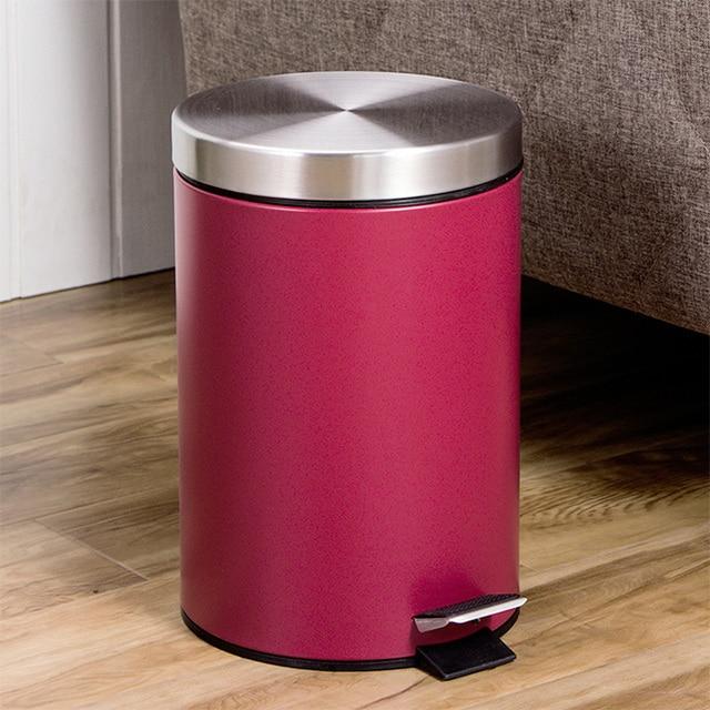 7l Red Small Trash Can Round Step Dustbin Rubbish Bin Kitchen Trash