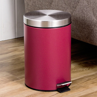 7L Red Small Trash Can Round Step Dustbin Rubbish Bin Kitchen Trash Bucket Kitchen Bathroom Garbage Can Office Paper Basket