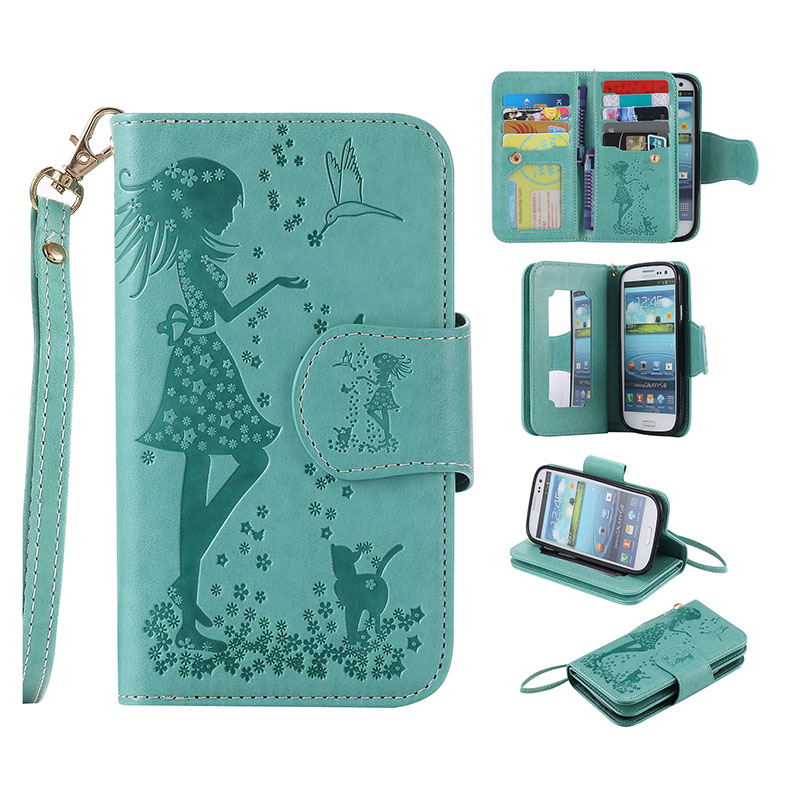Fashion Flip Wallet Leather Case For Samsung Galaxy S3 I9300 Stand Magnetic Purse Cover + 9 Card Slots + Photo Frame Phone Bag