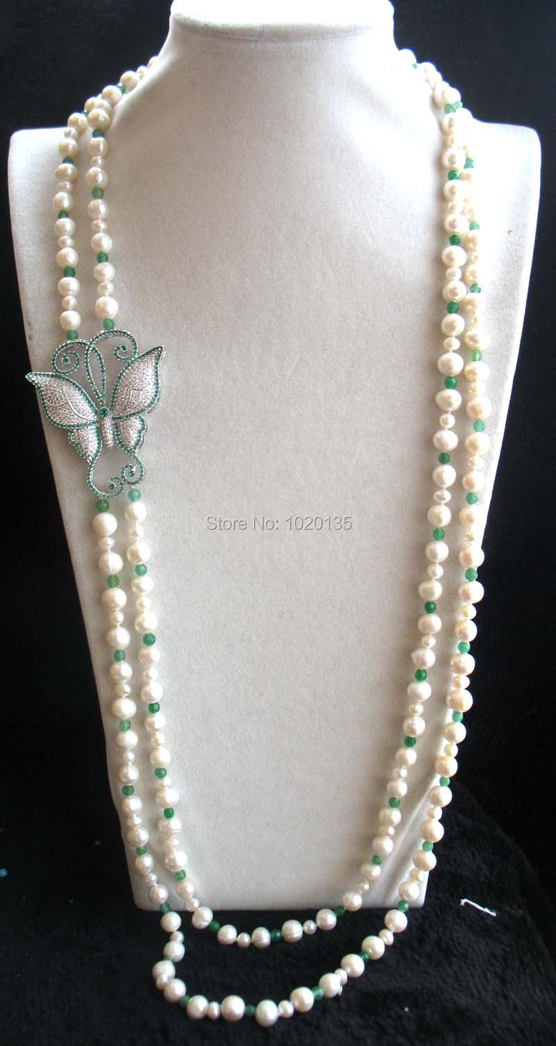 wholesale 2rows freshwater pearl white round and green jades stone beads round faceted neklace 39-43inch FPPJ butterfly clasp