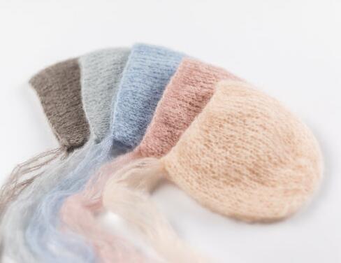 Gorro de lana mohair hecho a mano para bebé, atrezos para fotografía de bebés. Accesorio de fotografía. En regalo de Baby Shower