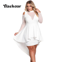 Yizekoar Plus Size Women Sexy Party Long Sleeve Cold Shoulder Autumn Dresses Women Night Club Dresses