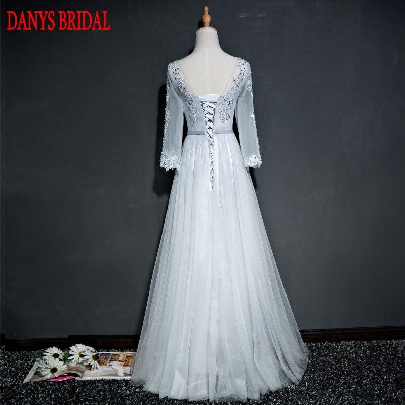 Frauen Festa Auf Abendkleid Langarm Grau Abendkleider Kleider Vestido Verkauf Silber Party Perlen De Formale qgtaw7W
