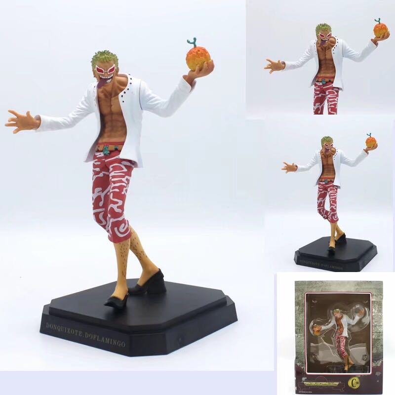 23CM Anime <font><b>One</b></font> <font><b>Piece</b></font> <font><b>Ichiban</b></font> <font><b>Kuji</b></font> Prize Dressrosa Donquixote Doflamingo Banpresto Figure Model Toys Birthday Gift for Children image