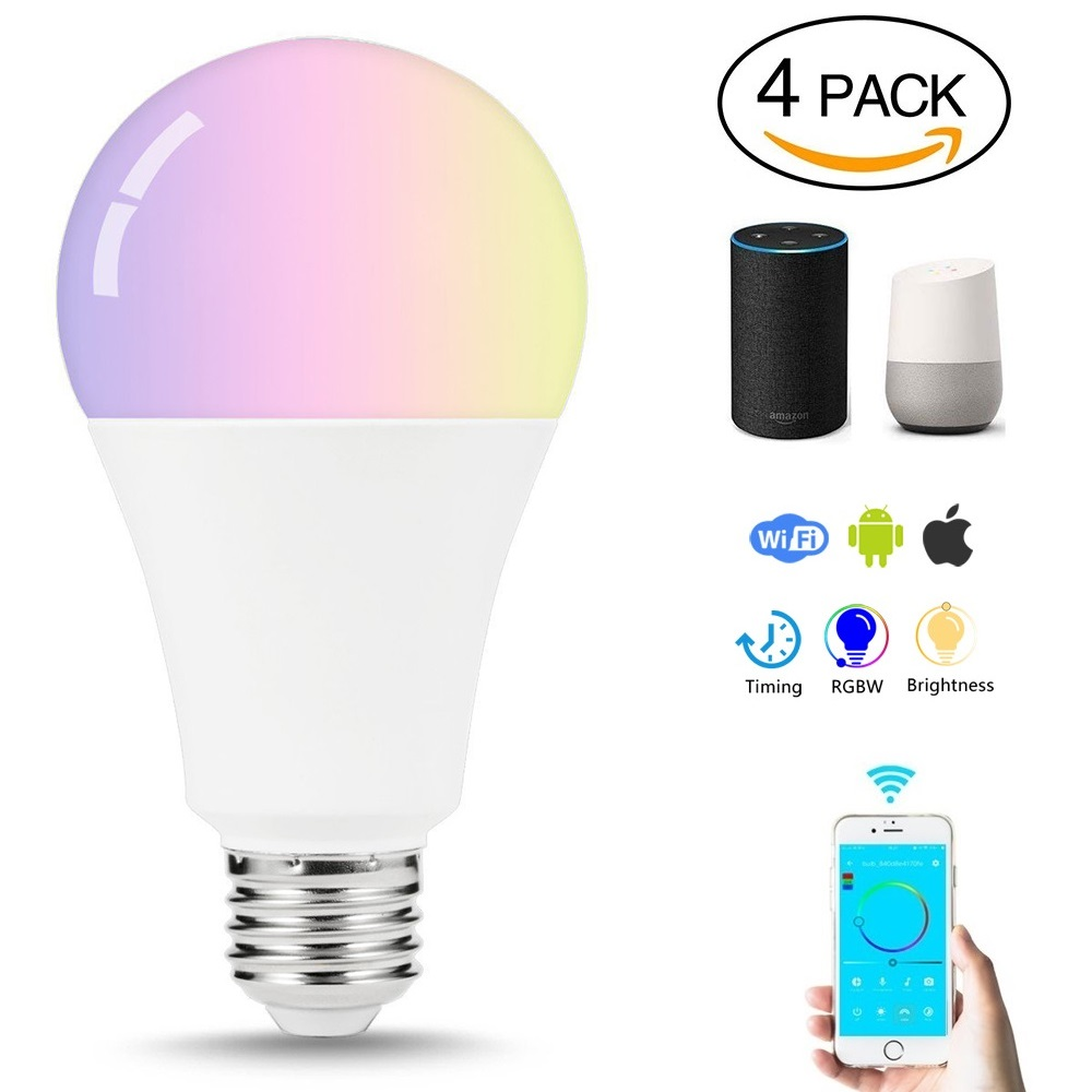 CR70 4PCS Led Bulb E27 Smart Lamp Wifi Bulb 7W RGB APP Remote Control Smart light Warm White Compatible Alexa Google Home lamp mini wifi rgb strip light controller with music control and voice control compatible with google home