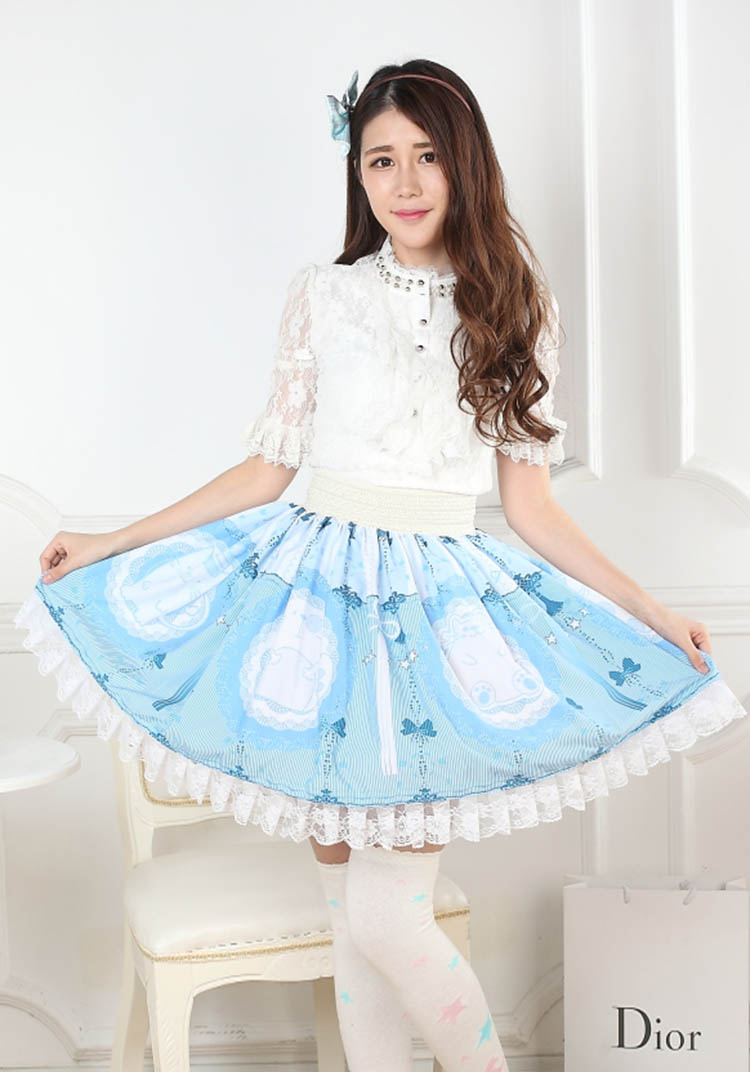 Adomoe Summer Sky Blue Chinese Knot Cute Design Cat Print Skirts England Beautiful Sweet Lolita Princess Pleated Lace Skirt