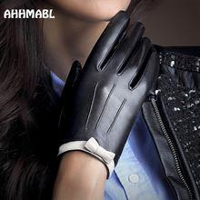 Hohe Qualität Elegante Frauen Leder Handschuhe Aus Echtem Leder Herbst Frühling Winter Heißer Trendy Weiblichen Kurzen Cut Handschuh G567