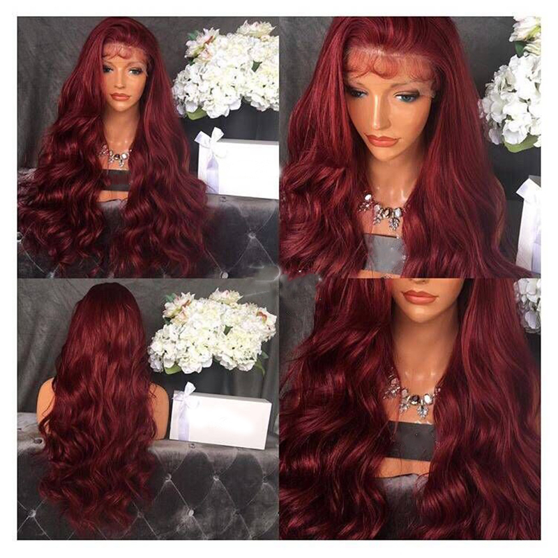 DLME Synthetic Lace Front Wig With Baby Hair 26Inch Long Burgundy Wig 180% Density Glueless Heat Resistant Wigs For Black Women