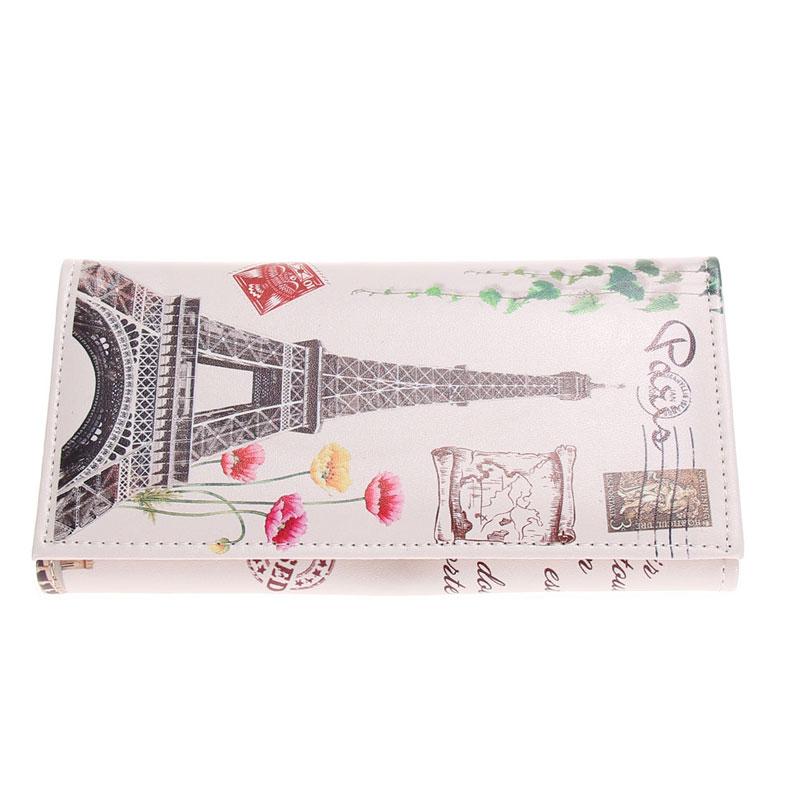 Fashion Women Leather Wallet Big Ben Eiffel Tower Graffiti Female Lady Wallet Coin Card Purse portefeuille femmeCarteiraFeminina