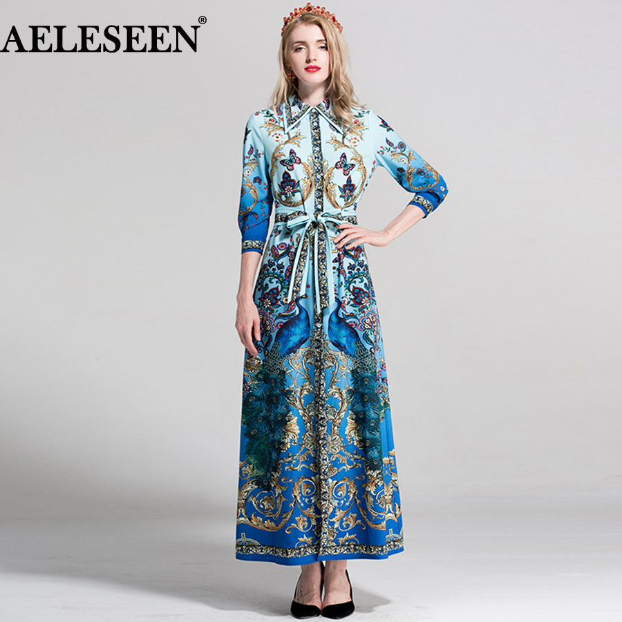 AELESEEN Bohemain Long Dress 2018 Summer Elegant Fashion Bow Print Peacock Flower Dresses Geometric Split Luxury Dress for Women