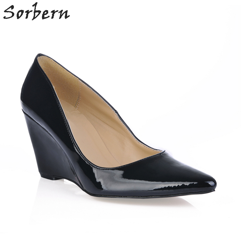 Sorbern Black Pointed Toe Wedges 8Cm High Heels Pointed Toe Shiny Pu Women Shoes Slip On Custom Colors Pump Heels Size 40 New pu pointed toe flats with eyelet strap