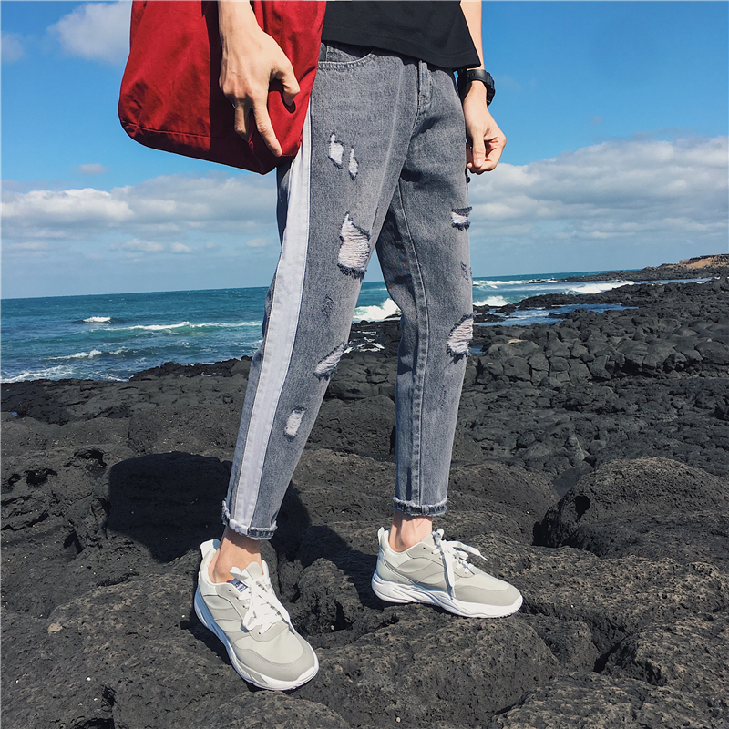 Korean Style Mens Fashion Trend Holes Classic Skinny Blue Brand Jeans Stretch Slim Fit Grey Casual Pants Homme Trousers28-36